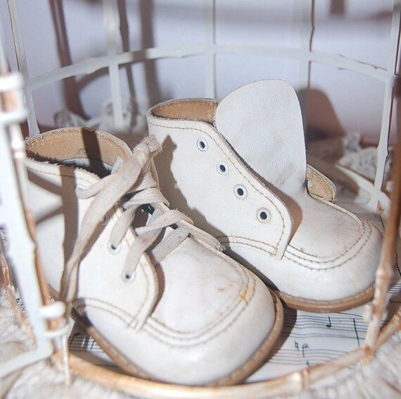 Old Leather Baby Shoes Infant Hard Sole White Walking