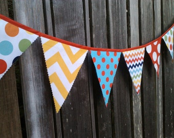 Fabric Bunting Banner Party Banner Circus Birthday Banner Pennant Flags Chevron, Giant Dots, Rainbow, Turquoise, Red, Yellow Birthday Decor