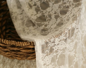 Floral Stretch Lace Fabric Wrap in White