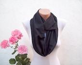 Black infinity scarf,Loop scarf,Fabric Cotton scarf,circle scarf