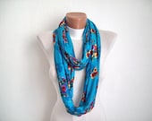 Scarf,Infinity scarf,Loop Scarf,Combed Scarf,Turquoise Red