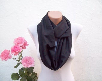 Summer Black infinity scarf,Loop scarf,Fabric Cotton scarf