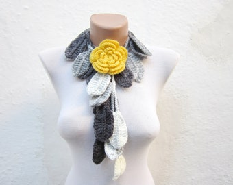 Crocheted Rose Lariat, Removeable Brooch Pin, Crochet Flower Leaf Scarf, Floral accessories, Variegated Necklace, Black Grey White Yellow