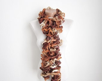 Brown Cream Knit Scarf Fall Fashion Frilly scarf Ruffled Scarf Holiday Accessories mothers day  christmas