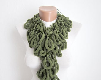 Mulberry Scarf,Pompom Scarf,Crochet Scarf,,Cocoon Scarf,Green,Gift for Women