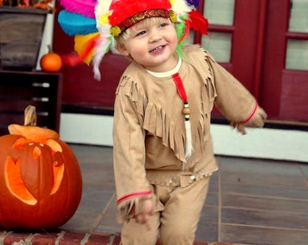 Native American Indian Boy's  children's costume size through 8 includes free headdress