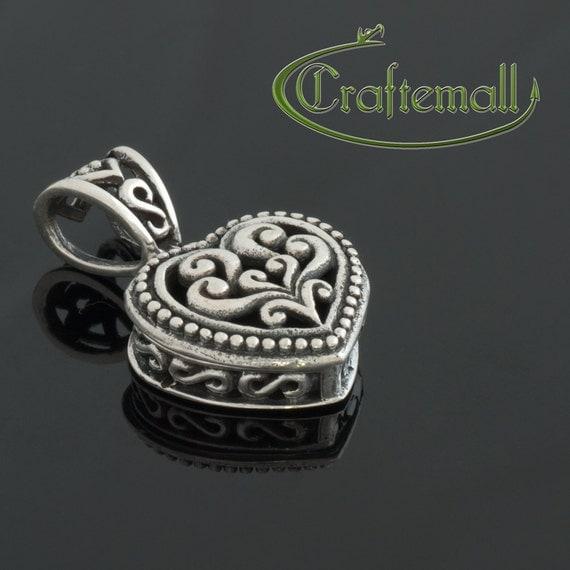 Sterling Silver Prayer Box Pendant - Heart Shaped Filigree Locket - cbpb008