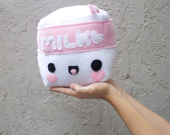 Cubed Milk Plush - Kawaii Plushie , Cute Stuffed Animal, Softie, Children's Toy, Decorative Pillow, Christmas Plush, His and Hers Gift