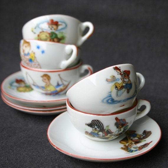 items similar to little girl antique tea set miniature collectible fairytale porcelain on etsy. Black Bedroom Furniture Sets. Home Design Ideas