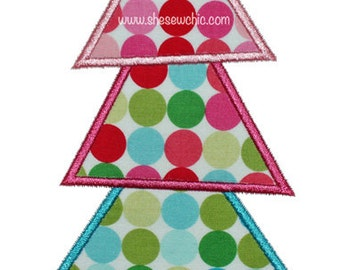 Christmas Tree Applique - Machine Embroidery Design file  (063)