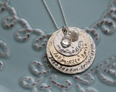 Mother's Layered Necklace, Personalized Hand Stamped, Mixed Metals Grandmother's Necklace, Custom Sterling Silver Necklace, Mothers Necklace
