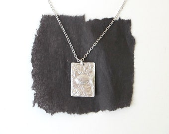 Fish Fossil Tag Necklace Silver Metal Rectangle Pendant