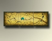 Modern Abstract Birds on Branch Original Yellow Painting - 20 x 60 - Multiple Canvases - by Britt Hallowell