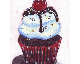 Acrylic Cupcake Painting Illustration - Ice Cream Sundae Cupcake Art Print - 8x10 Limited Edition