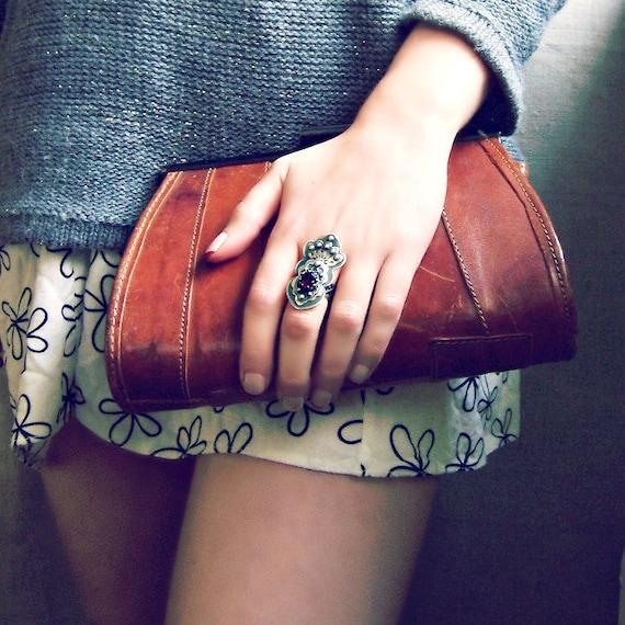 Gemstone ring, large sterling silver ring, long ring, cocktail ring, garnet ring, statement ring, metalsmith ring, bold rings, oxidized ring