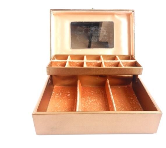 Vintage Jewelry Box - Gold Daisy , Velvet Lining & Mirror Organization Box / Lady Buxton