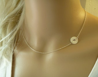 Sideways Initial Necklace - All Sterling Silver - Gold Filled - Hand Stamped Disc - Personalized Charm - Bridesmaid Gift - wedding jewelry