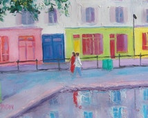 PARIS art, St Martin Canal, Paris painting, city art, Paris street scene, Paris decor, miniature art, living room art, Etsy Art, Jan Matson