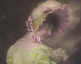 Gorgeous Hand Tinted Image of Woman in Bonnet circa 1905