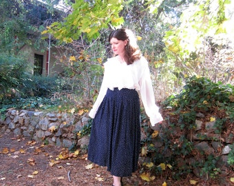 80s skirt Brooks Brothers Navy blue and white Preppy pleated skirt Rayon S/M