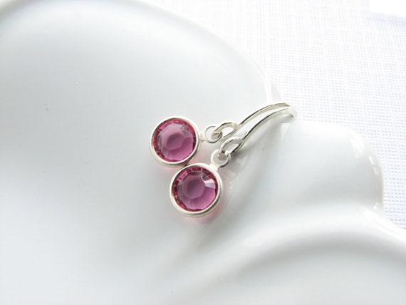 Birthstone earrings simple dangle earrings Swarovksi crystal birthday gift for women bridesmaids gift