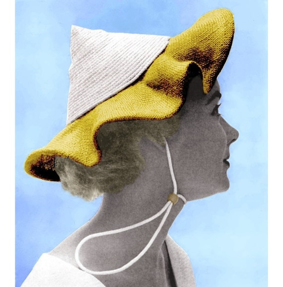 Vintage Sewing Pattern 1950s Pixie Sun Hat Ruffled Summer Bonnet Digital Download PDF