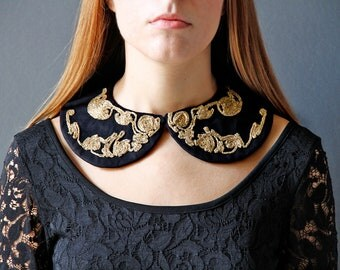 Black & Gold Embroidered Collar - Handmade - One of a kind