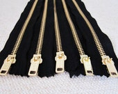 12inch - Black Metal Zipper - Gold Teeth - 5pcs