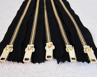 12inch - Black Metal Zipper - Gold Teeth - 5pcs