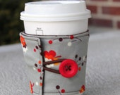 Reusable Coffee Sleeve / Coffee Cozy - Grey Posie - Flea Market Fancy by Denyse Schmidt - Grey and Red Flowers - Drink Wrap Coffee Wrap