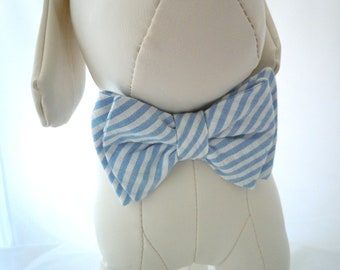 Blue and White Stripe Seersucker Bow Tie for Dog or Cat - Any Size