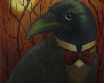 Raven Portrait Print- Poe Raven - Nevermore - Bird Print - Gothic Art - Edgar Allan Poe
