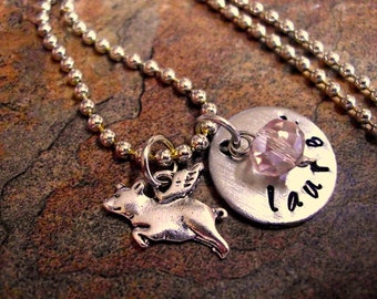 SUPER SALE Personalized Jewelry, Pig Necklace, Pig Jewelry, Personalized Pig Necklace, Flying Pig Jewelry, Animal Jewelry, Hand Stamped Jewe