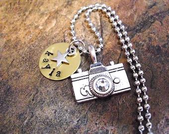 SUPER SALE Camera Jewelry, Personalized Camera Necklace, Photography Jewelry, Photographers Necklace, Hand Stamped Jewelry