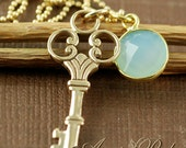 Gold Key Jewelry, Bridemaids Gift, Chalcedony Gem, Bridal Jewelry, Key to my Heart, Anniversary Gift