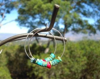 Turquoise and Red Coral Hoop Earrings, Bohemian Hoop Earrings