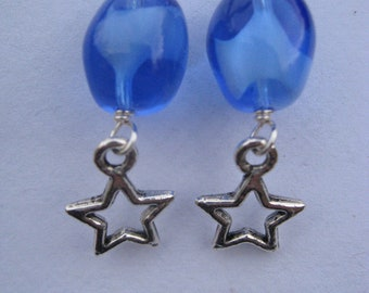 Glassy Stars drop earrings sterling silver