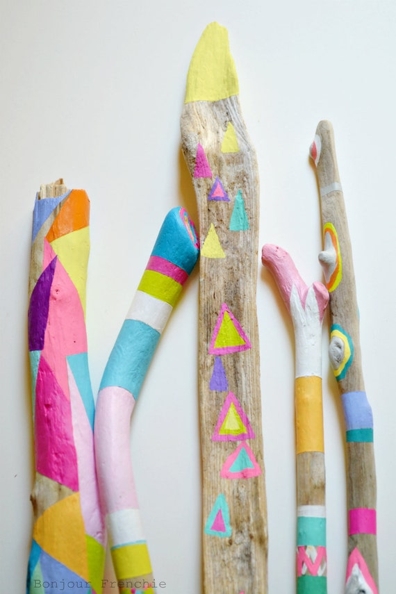 Painted Driftwood Sticks - 5 Piece Collection for Home Decor, Photo Props - Neon and Pastel, Shapes, Triangles, Pattern, Geometric, Boho