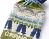 Personalised Mens Fairisle Knitted Hot Water Bottle Cozy/ cosy
