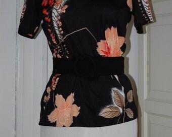 70s Top, Nylon, Mardi Modes, Peach Floral, Shirt, Blouse, Size Medium