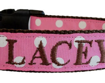 Embroidered Dog Collar- Personalized with name and phone- Pink Polka Dots