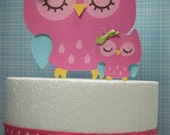 Colorful Owl CAKE TOPPER set with Mommy and Baby f