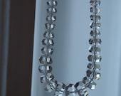 Necklace Cut Clear Crystal Czech Art Deco Graduated Bead Necklace