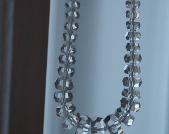 Czech Necklace Cut Clear Crystal Art Deco Graduated Bead Necklace