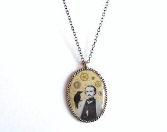 Edgar Allan Poe Raven Pendant Necklace