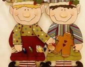 """DEBI'S DOINGS Elton & Emmett Wood Holiday Craft Pattern (each 28"""" H x 12""""-16"""" W)"""