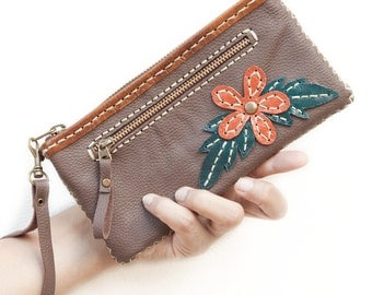 SALE, Leather Zipper Wristlet Wallet, Purse with Flower in Brown - Hand Sewn