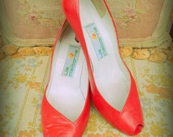1980s red leather peep toe heels
