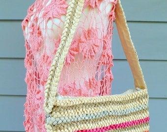Colorful straw vintage market bag purse