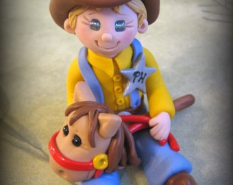 Polymer Clay Cowboy with Stick Horse Birthday Cake Topper
